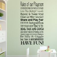 Playroom / Classroom Rules Wall Sticker  ~ Wall sticker / decals